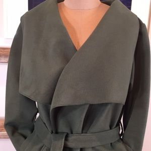 Green Long Coat Open Front Belted Made in Italy